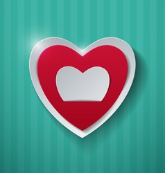 Paper hearts on turquoise background vector