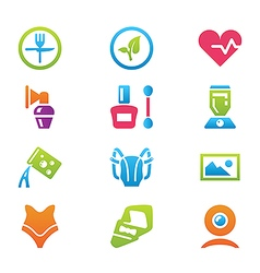 icon set different household objects vector image