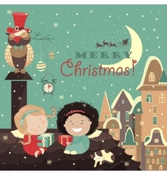 Little angels on the roof of celebrating Christmas vector image