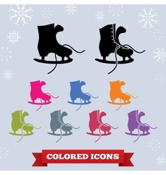 Skate with laces icon set sport winter holiday vector