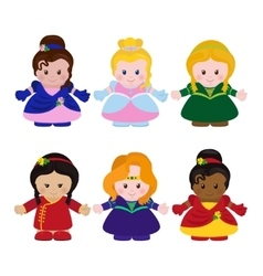 Six funny little princesses vector