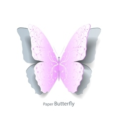 Pink butterfly cut out of paper vector