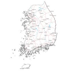 South korea black white map vector