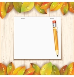 Hanging pencil by the paper sheet vector