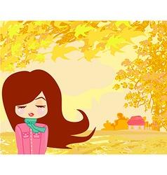 beautiful girl in autumn vector image