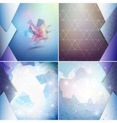 Blue geometric backgrounds set abstract triangle vector image