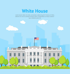 cartoon white house building card poster vector image