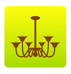 Chandelier simple sign brown icon at vector