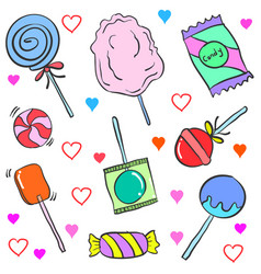 collection stock of candy various doodles vector image
