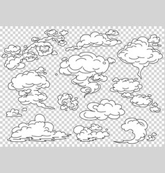 comic book steam clouds set cartoon white smoke vector image