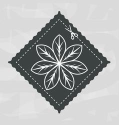 Emblem shape square with flower inside decoration vector