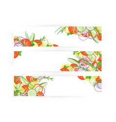 Food banner with vegetables isolated on white vector