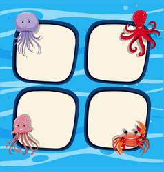 Four border templates with sea animals in ocean vector