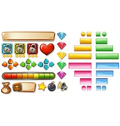 Game elements with buttons and bars vector