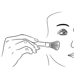 Girl gets rouge brush on white background vector