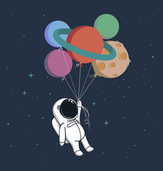 Happy spaceman with planets vector