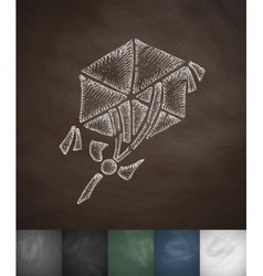 Hexagonal kite icon hand drawn vector