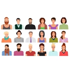 Man Male and Female woman character faces avatar vector image vector image