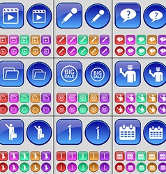 Media player microphone chat bubble folder big vector