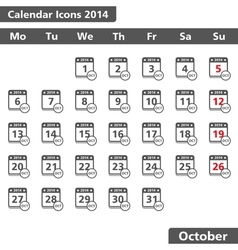 October 2014 Calendar Icons vector image