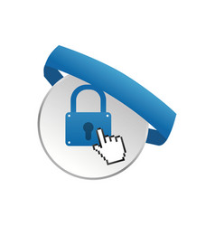 Padlock pointer hand banner vector