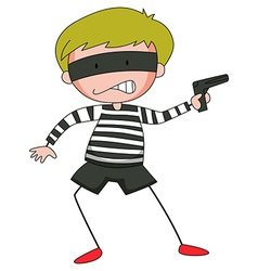 Robber with mask firing gun vector