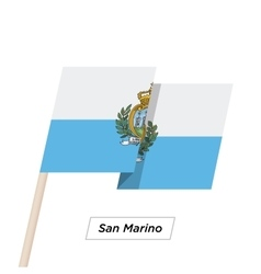San Marino Ribbon Waving Flag Isolated on White vector image