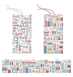Set of decorative tags and seamless border vector image