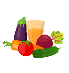 set of vegetables juice made in cartoon style vector image