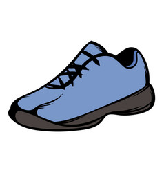 single blue running shoes icon cartoon vector image