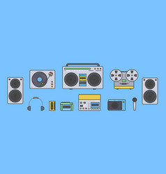 sound systems retro collection portable player vector image vector image