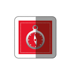 Sticker red square shape frame with compass vector