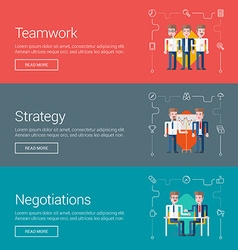 Teamwork strategy negotiations flat design vector