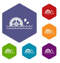 Waterwheel icons set hexagon vector