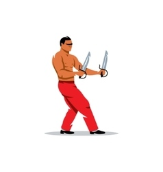 Wing Chun kung fu Man with two swords vector image