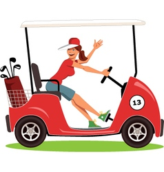 Woman driving a golf cart vector image vector image
