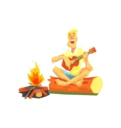 Guy Playing Guitar Sitting On A Log Next To vector image