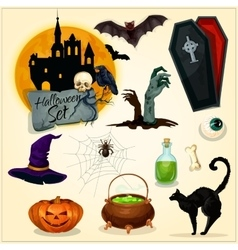 Horror decoration elements for halloween design vector