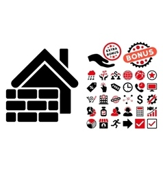 Realty brick wall flat icon with bonus vector