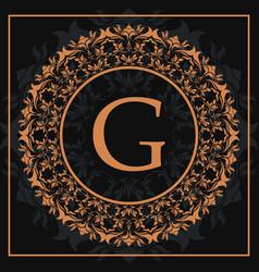 Florishes gold letter g calligraphic heraldic dark vector