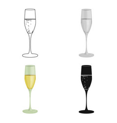 Glass of champagne icon in cartoon style isolated vector