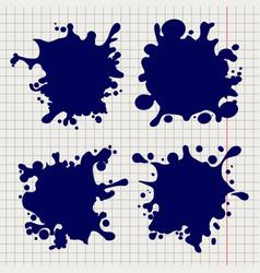 pen splash shapes on notebook background vector image