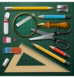 Colorful school supplies vector