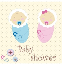 Twins Baby Boy And Girl vector image