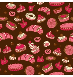 Seamless pattern with different types of pastries vector