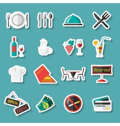 Restaurant icons stickers vector image