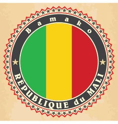 Vintage label cards of mali flag vector