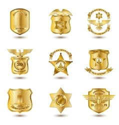 Police badges gold vector