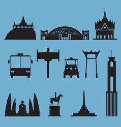 Silhouette icon set of bangkok city landmark vector