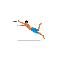Attractive man playing frisby sign vector